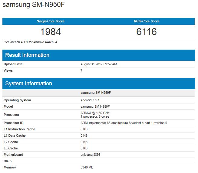 SM-N950F geekbench